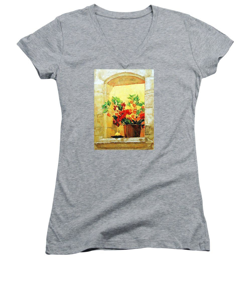 Still Life Women's V-Neck T-Shirt featuring the painting The Light by Iliyan Bozhanov