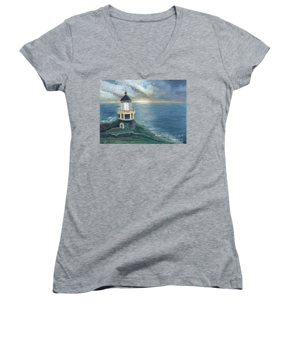 Lighthouse Women's V-Neck (Athletic Fit) featuring the painting The Lighthouse by Nadine Rippelmeyer