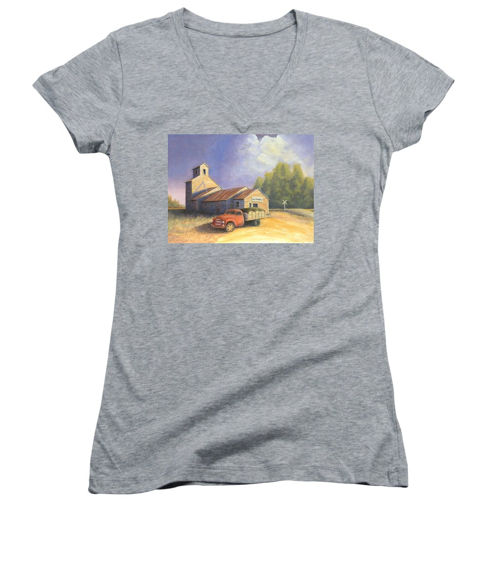 Nebraska Women's V-Neck T-Shirt featuring the painting The Lisco Elevator by Jerry McElroy