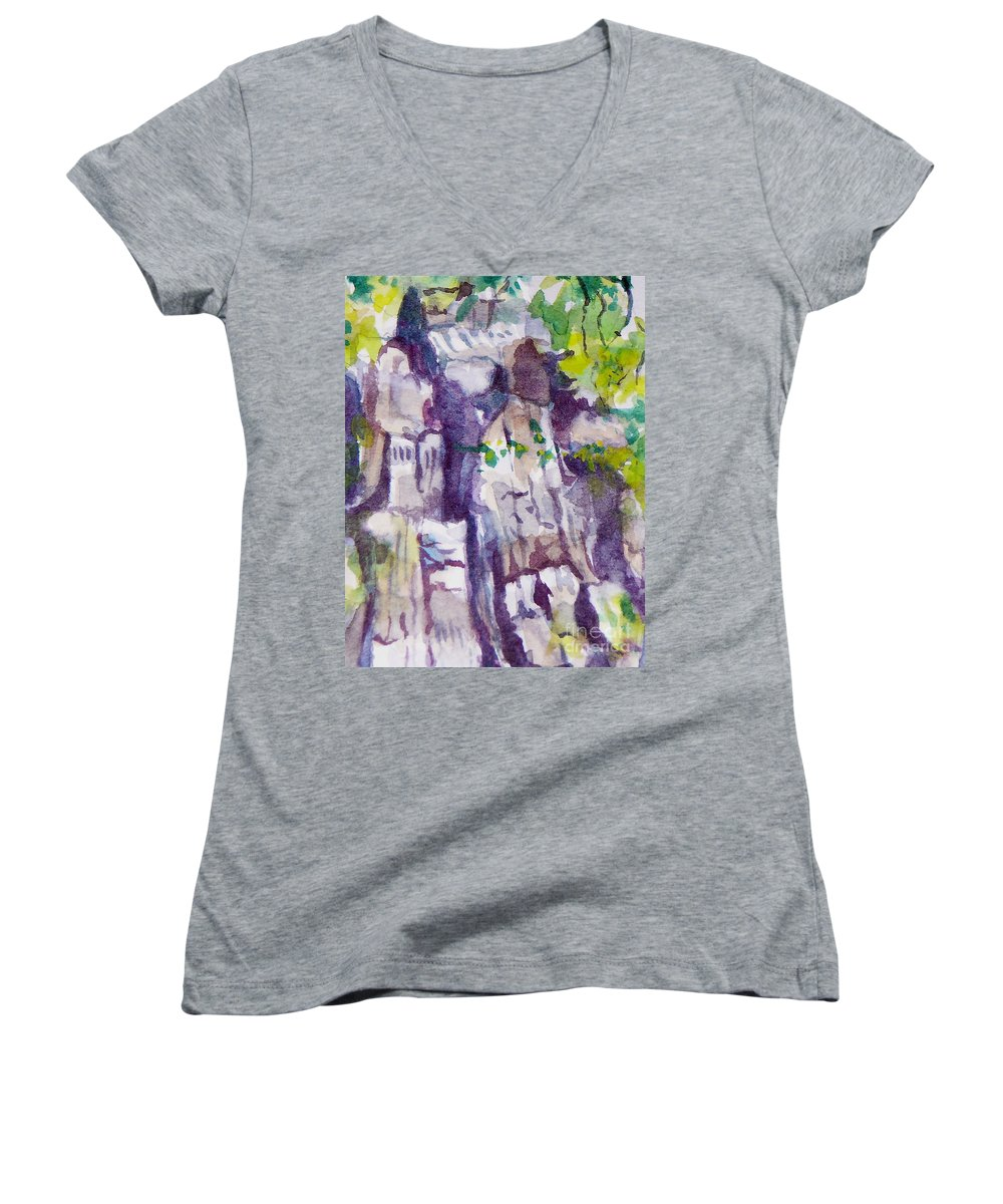 Purple Women's V-Neck T-Shirt featuring the painting The Little Climbing Wall by Jan Bennicoff