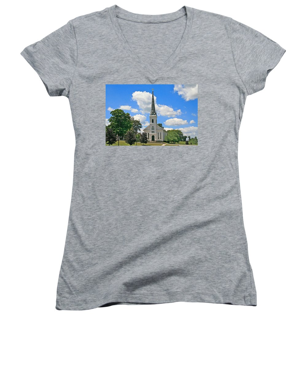 Usa Women's V-Neck (Athletic Fit) featuring the photograph The Little Country Church by Robert Pearson
