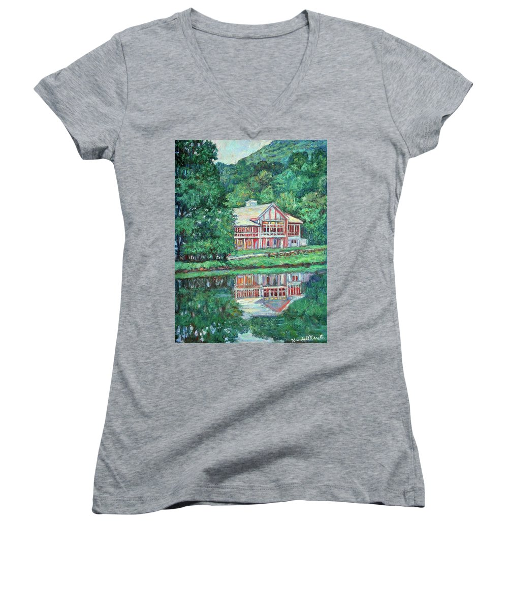 Lodge Paintings Women's V-Neck T-Shirt featuring the painting The Lodge At Peaks Of Otter by Kendall Kessler