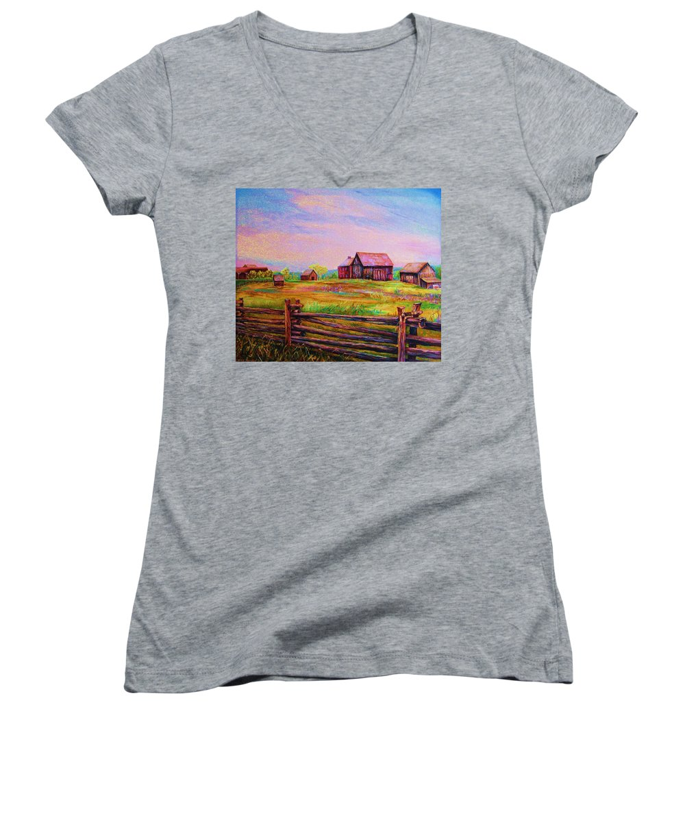 Ranches Women's V-Neck (Athletic Fit) featuring the painting The Log Fence by Carole Spandau