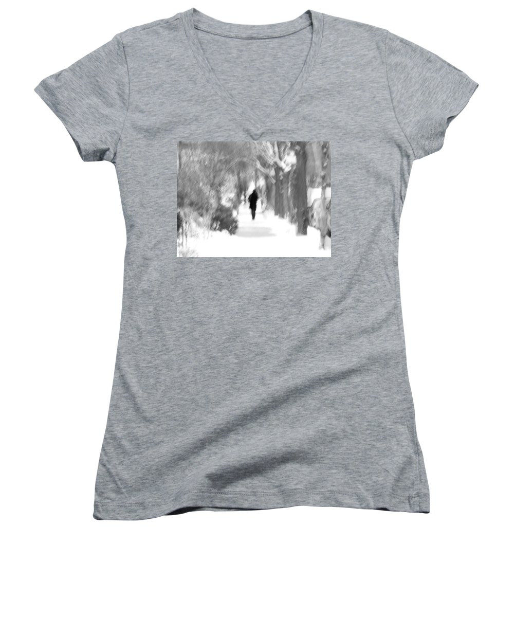 Blur Women's V-Neck T-Shirt featuring the photograph The Long December by Dana DiPasquale