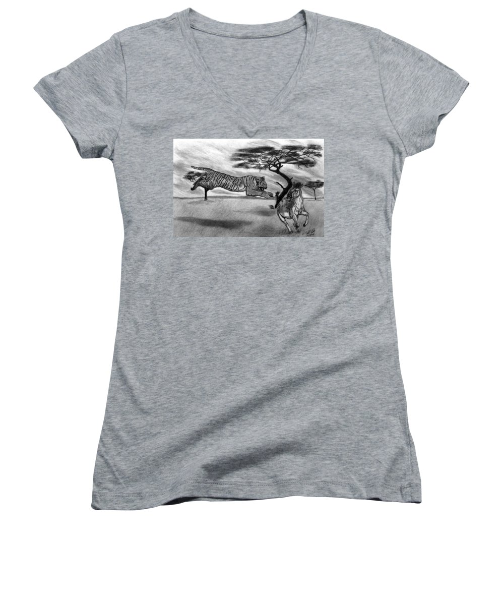 The Lunge Women's V-Neck T-Shirt featuring the drawing The Lunge by Peter Piatt
