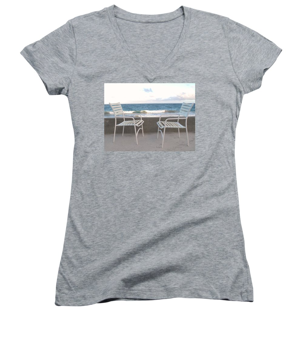 Seascape Women's V-Neck (Athletic Fit) featuring the photograph The Meeting by Ian MacDonald