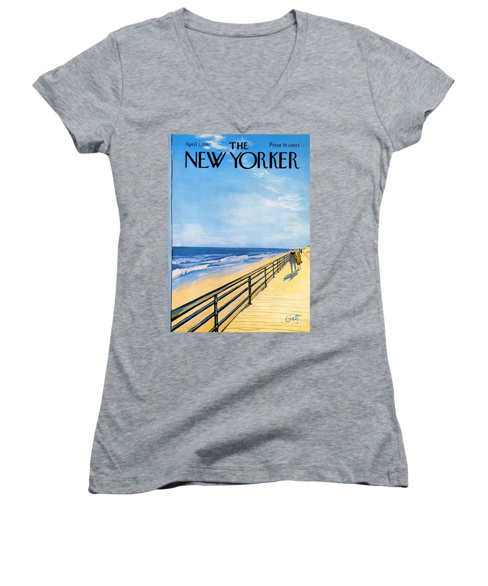 Arthur Women's V-Neck featuring the painting The New Yorker Cover - April 1st, 1967 by Arthur Getz