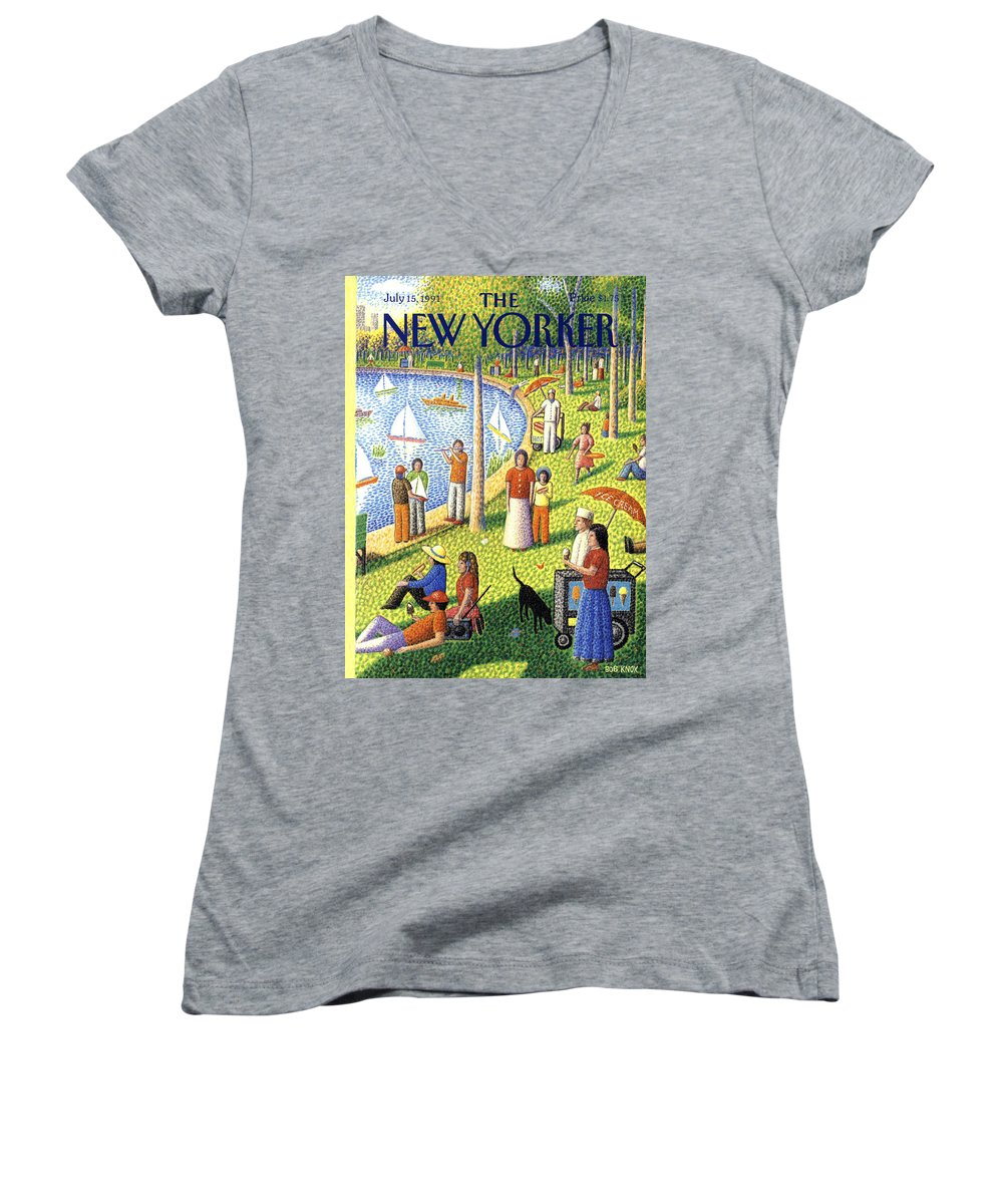 La Grande Jatte Women's V-Neck featuring the painting The New Yorker July 15th, 1991 by Bob Knox
