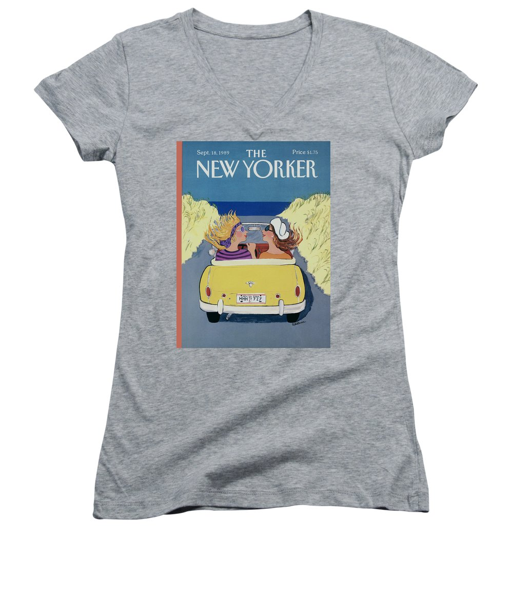 Autos Women's V-Neck featuring the photograph The New Yorker Cover - September 18th, 1989 by Barbara Westman