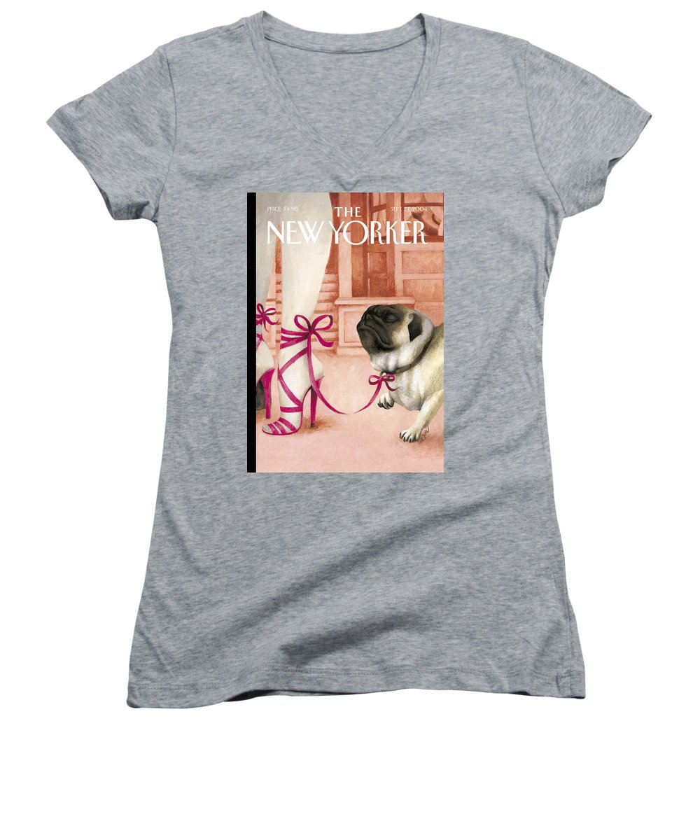 Brought To Heel Women's V-Neck featuring the painting Brought To Heel by Ana Juan