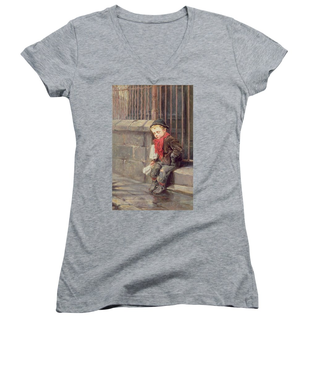ec0a3ba0b629 The Women's V-Neck featuring the painting The News Boy by Ralph Hedley
