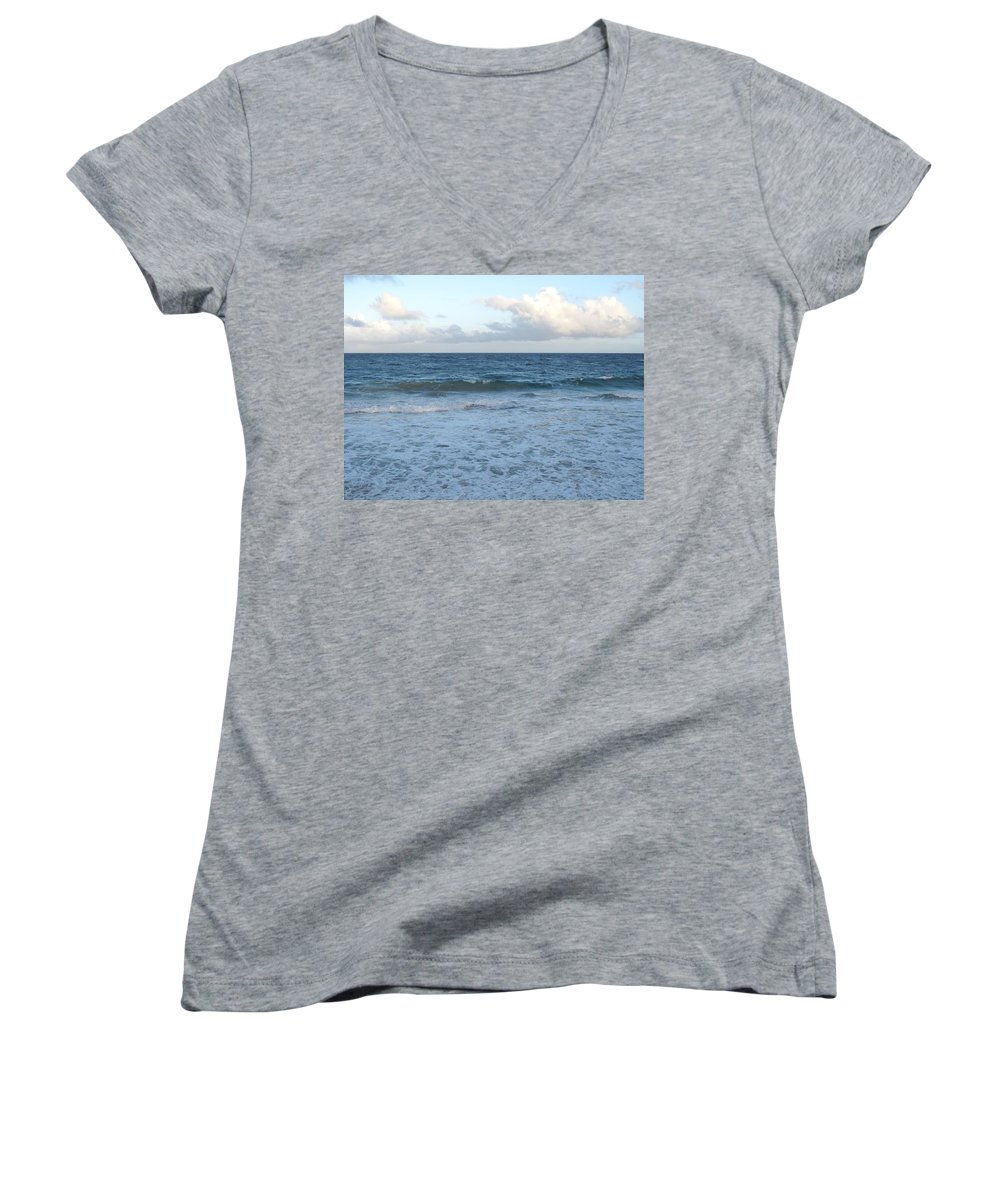 Surf Women's V-Neck T-Shirt featuring the photograph The Next Wave by Ian MacDonald