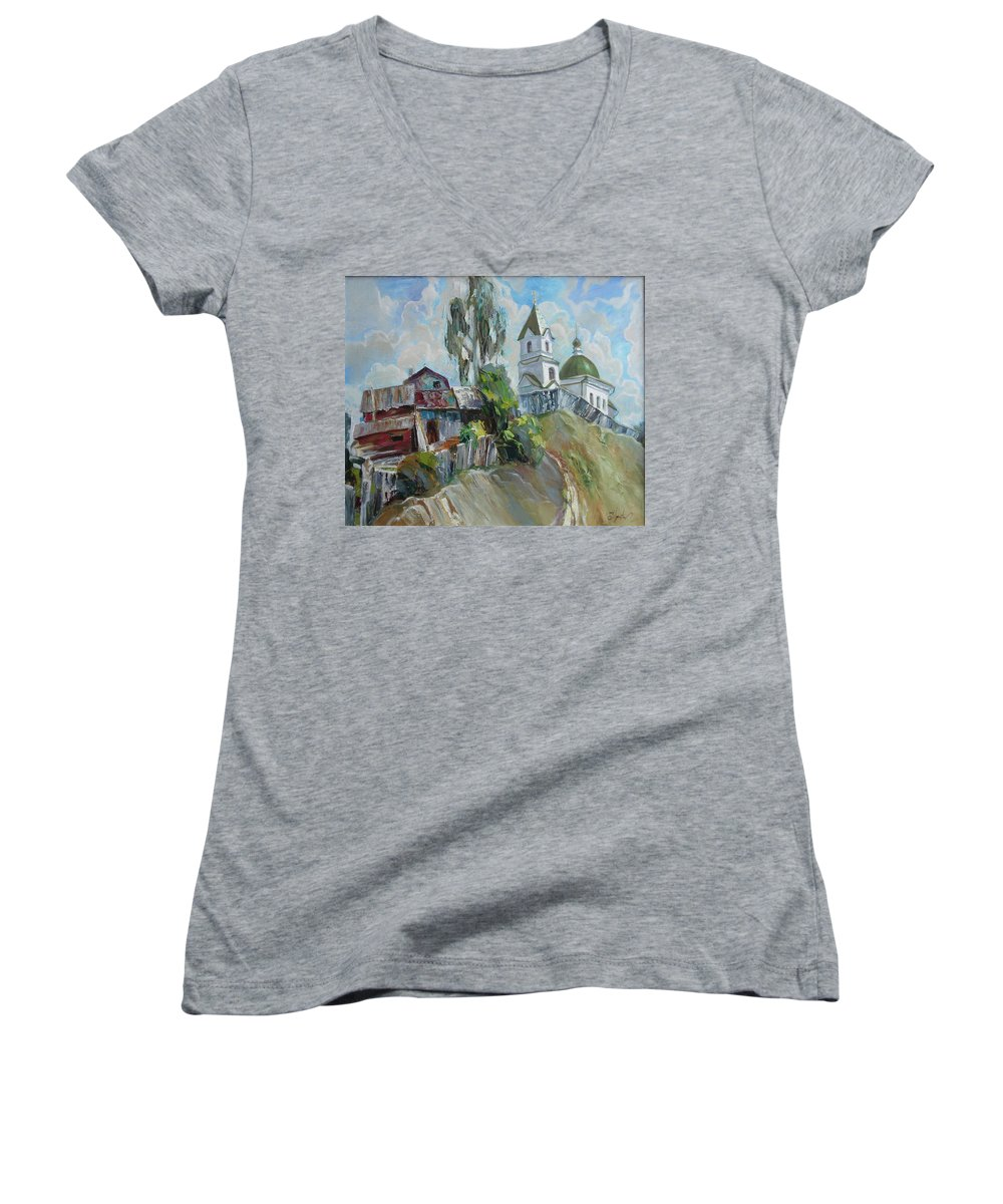 Oil Women's V-Neck T-Shirt featuring the painting The Old And New by Sergey Ignatenko