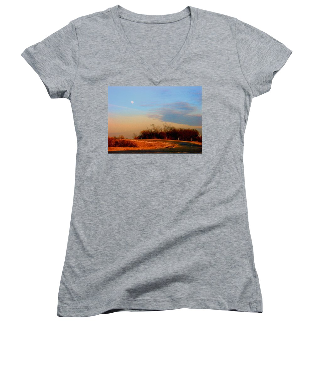 Landscape Women's V-Neck T-Shirt featuring the photograph The On Ramp by Steve Karol