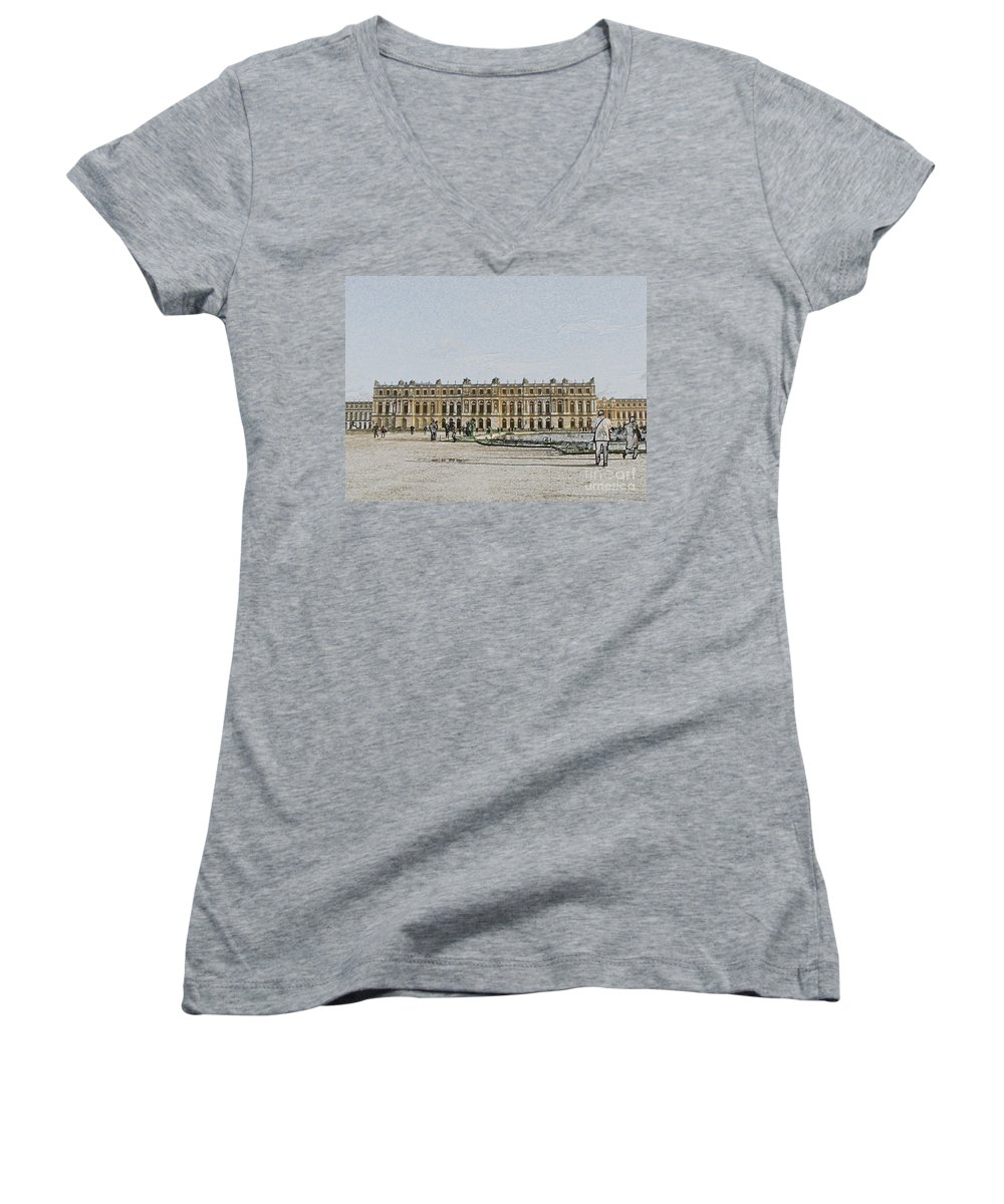 Palace Women's V-Neck (Athletic Fit) featuring the photograph The Palace Of Versailles by Amanda Barcon
