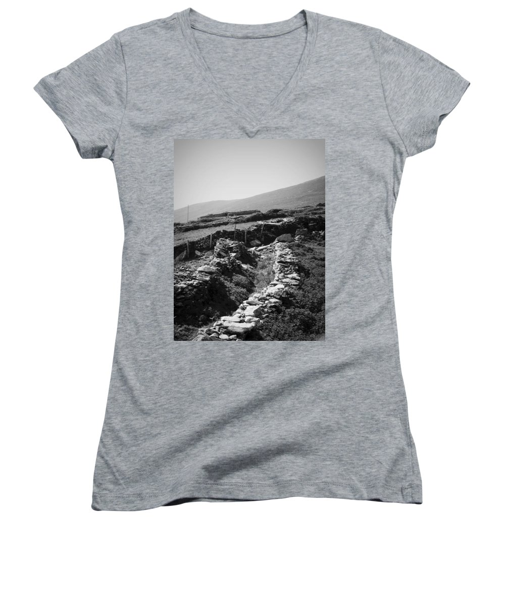 Irish Women's V-Neck (Athletic Fit) featuring the photograph The Path To The Beehive Huts In Fahan Ireland by Teresa Mucha