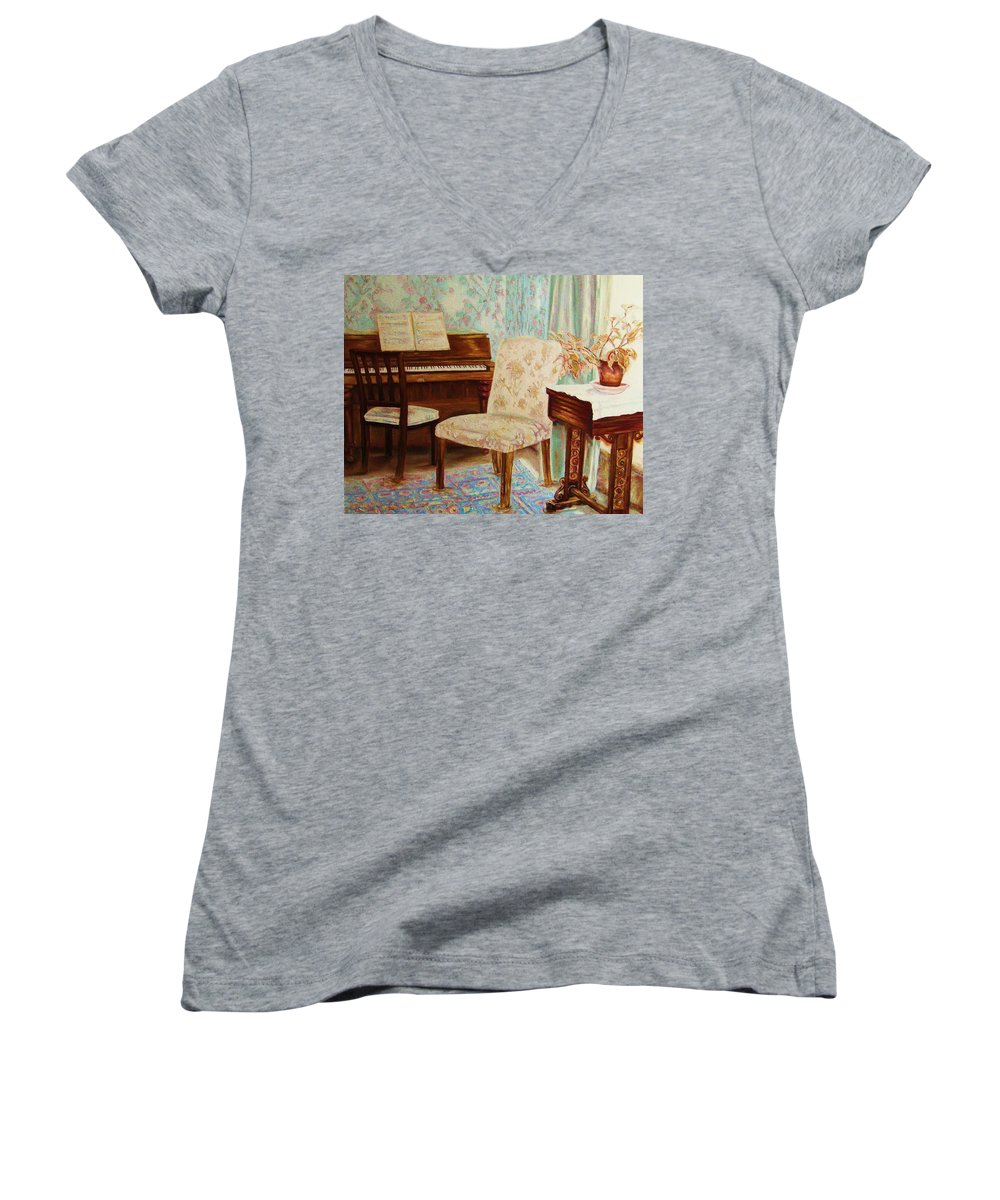 Iimpressionism Women's V-Neck T-Shirt featuring the painting The Piano Room by Carole Spandau