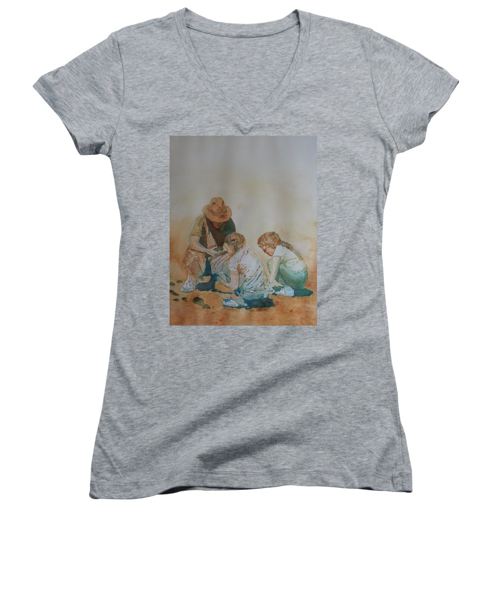 Fathers Women's V-Neck T-Shirt featuring the painting The Pumice Seekers by Jenny Armitage
