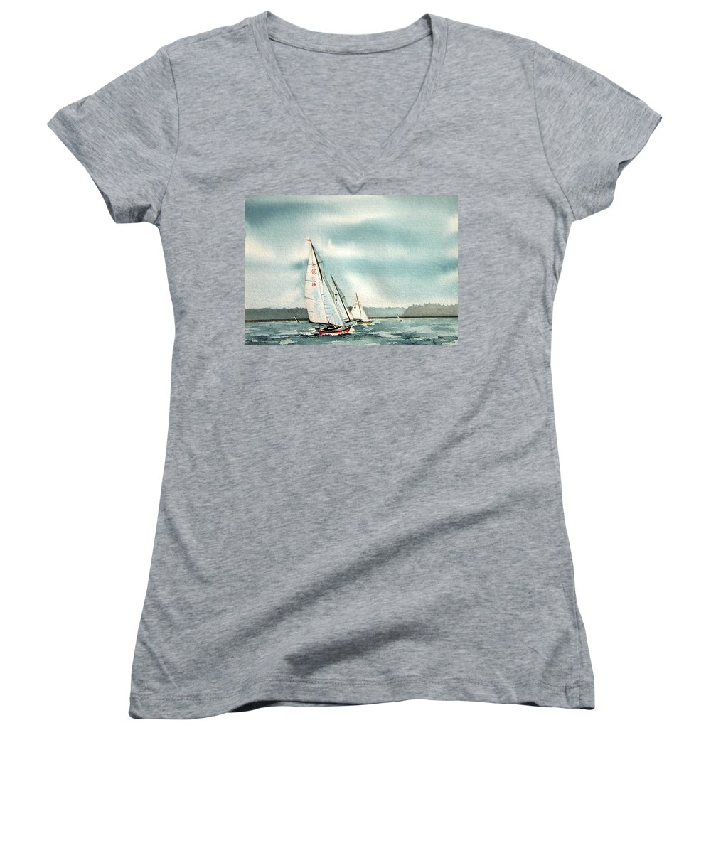 Sailing Women's V-Neck (Athletic Fit) featuring the painting The Race by Gale Cochran-Smith