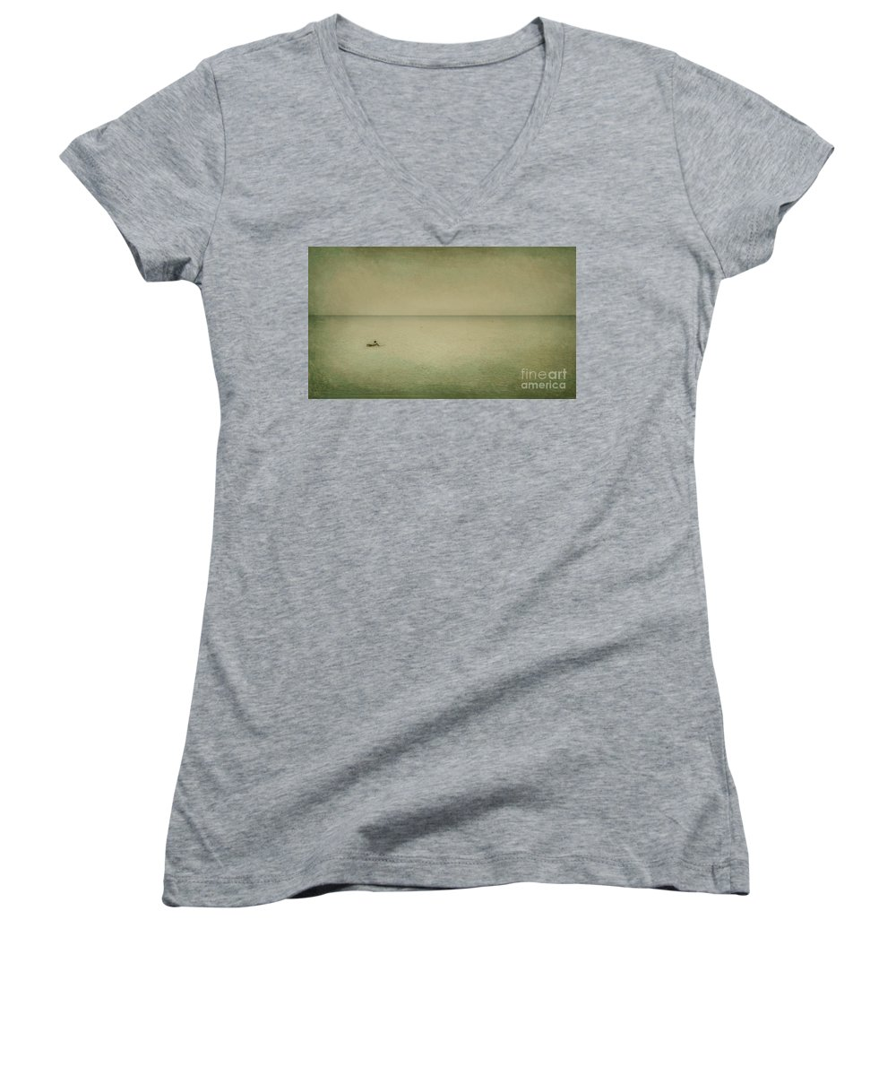 Sea Women's V-Neck T-Shirt featuring the photograph The Recesses Of The Deep by Dana DiPasquale