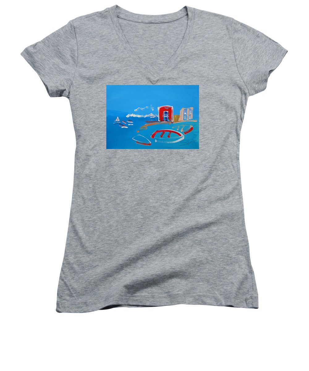 Puerto Women's V-Neck (Athletic Fit) featuring the painting The Red House La Casa Roja by Charles Stuart