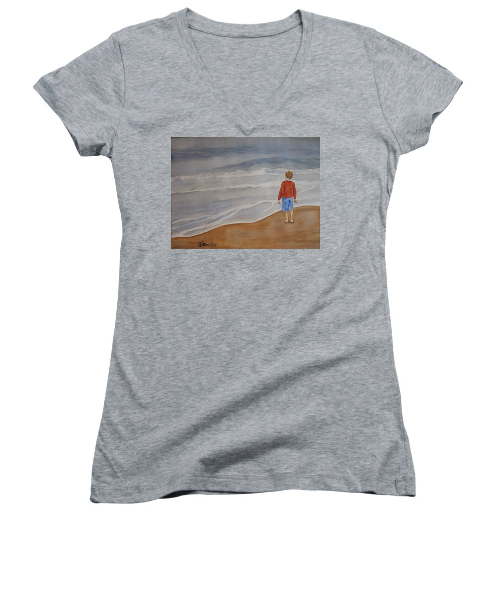 Boy Women's V-Neck T-Shirt featuring the painting The Red Shirt by Jenny Armitage