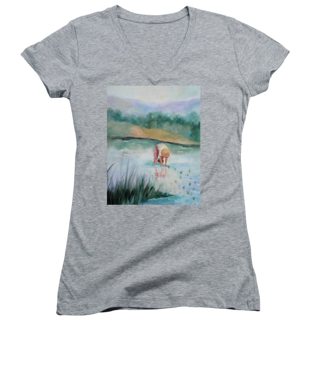 Figurative Women's V-Neck (Athletic Fit) featuring the painting The Rice Planter by Ginger Concepcion