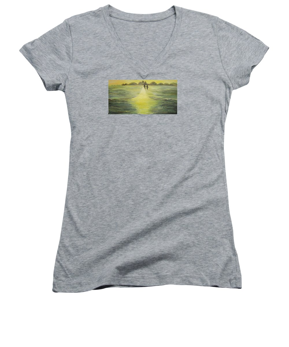 Soul Women's V-Neck T-Shirt featuring the painting The Road In The Ocean Of Light by Karina Ishkhanova