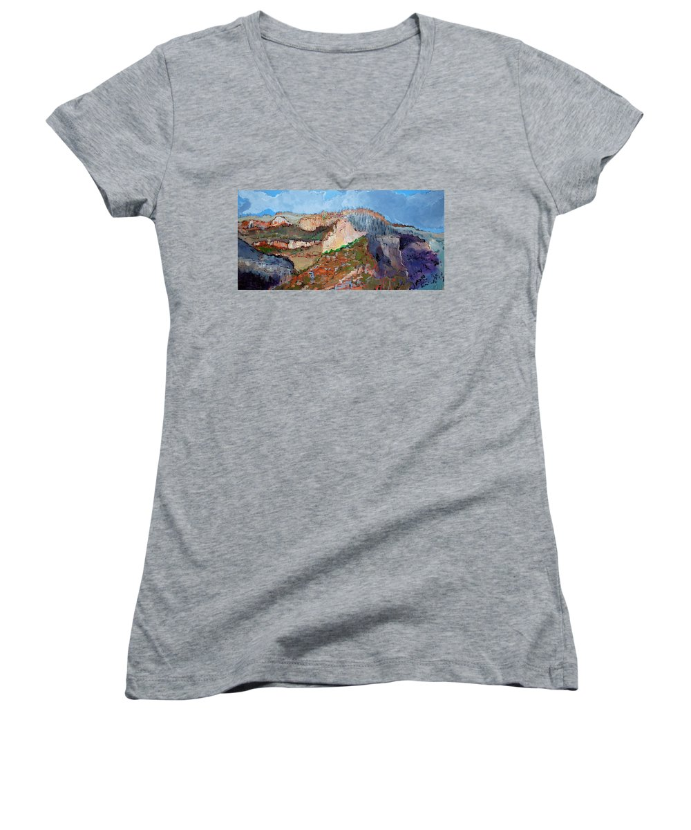 Mountains Women's V-Neck T-Shirt featuring the painting The Rockies by Kurt Hausmann