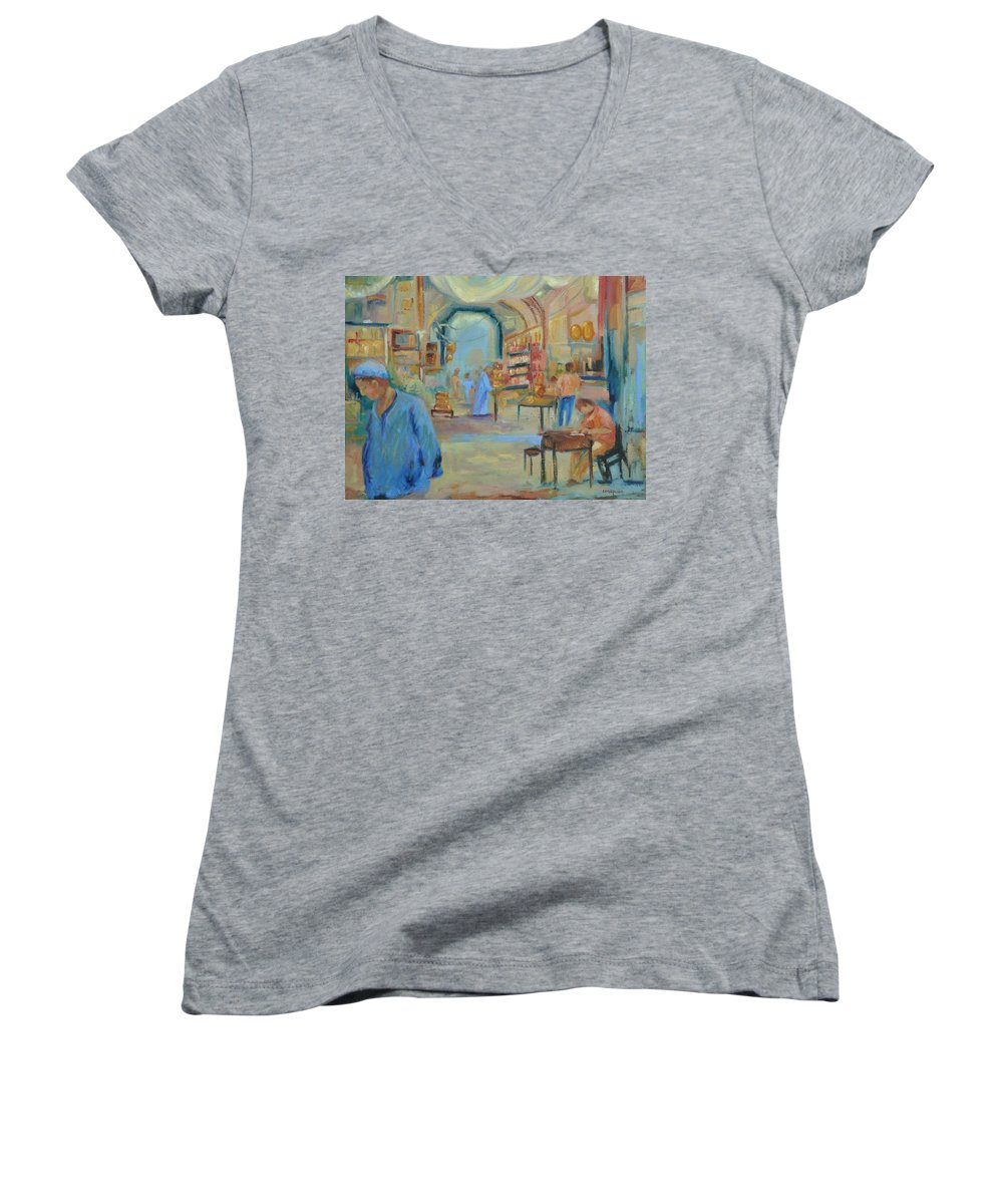 Figurative Women's V-Neck (Athletic Fit) featuring the painting The Souk by Ginger Concepcion