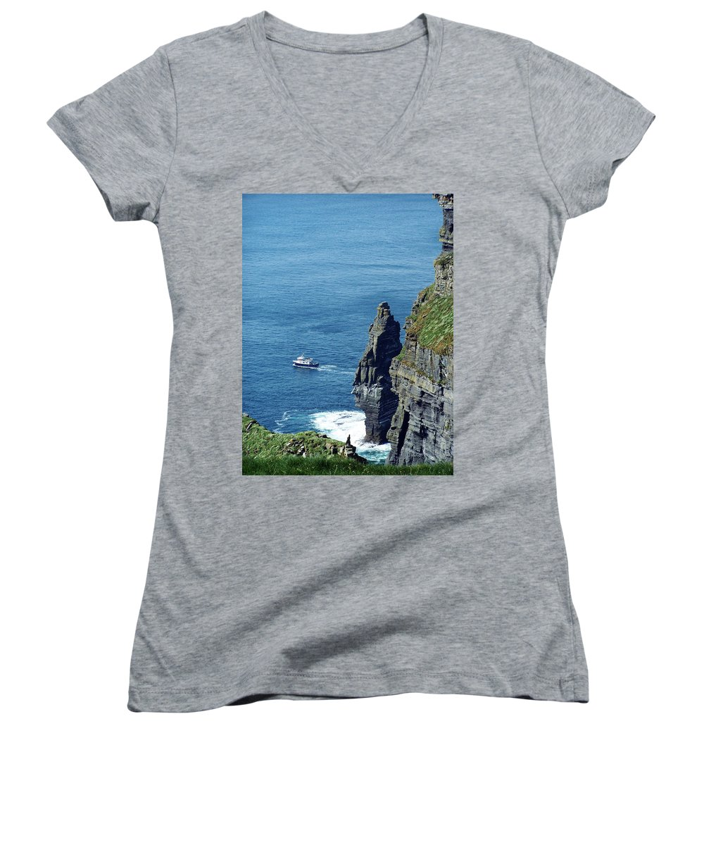 Irish Women's V-Neck (Athletic Fit) featuring the photograph The Stack And The Jack B Cliffs Of Moher Ireland by Teresa Mucha