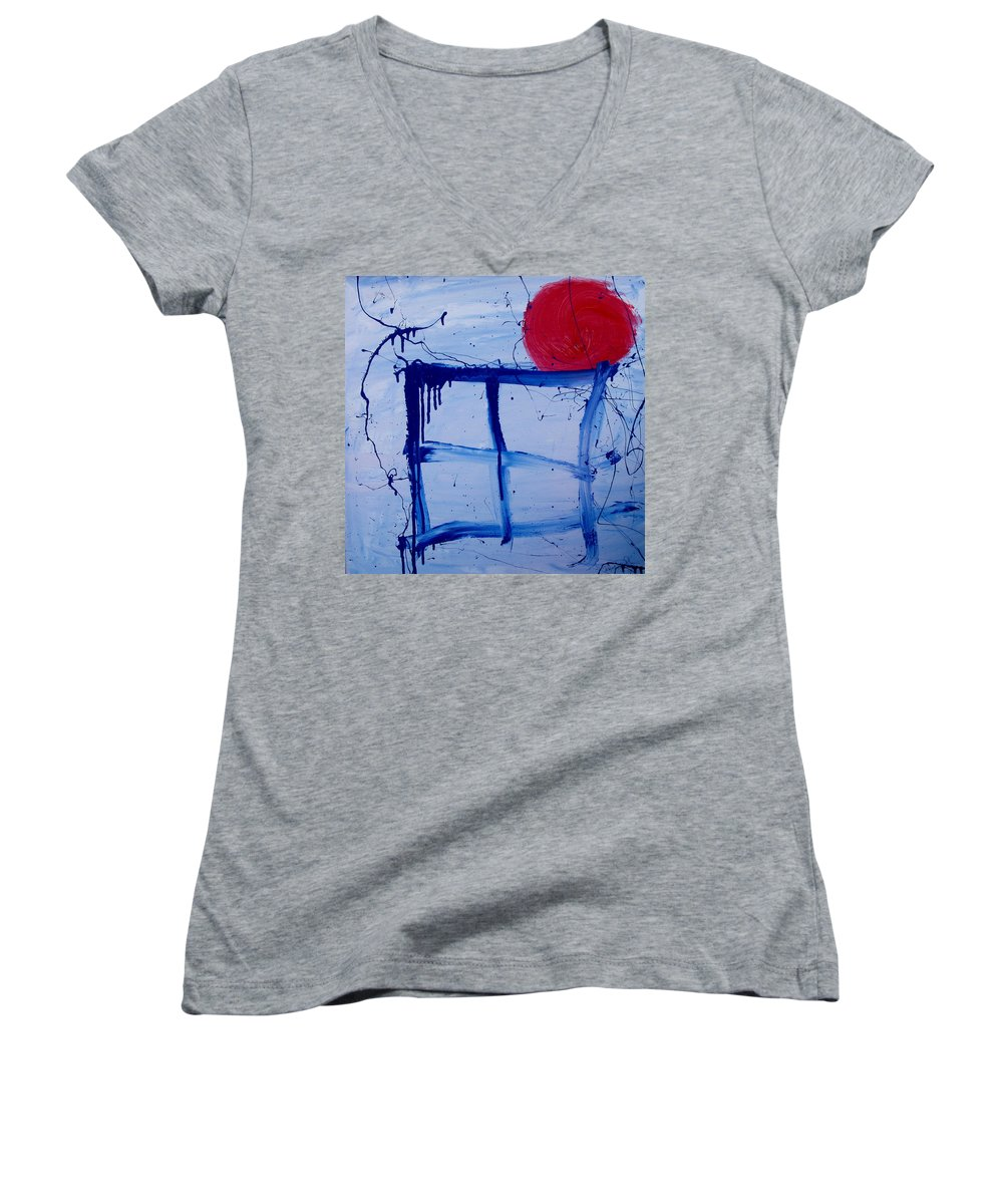 Sun Women's V-Neck T-Shirt featuring the painting The Sun Through My Window by Wayne Potrafka