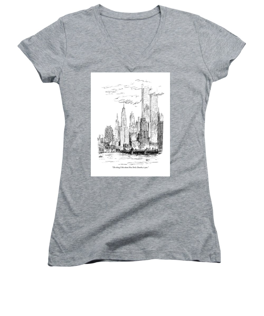 Nyc Women's V-Neck featuring the drawing The Thing I Like About New York by Robert Weber