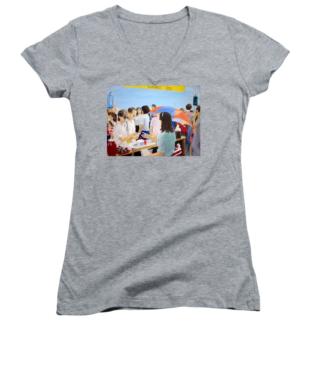 People Women's V-Neck T-Shirt featuring the painting The Vendor by Steve Karol