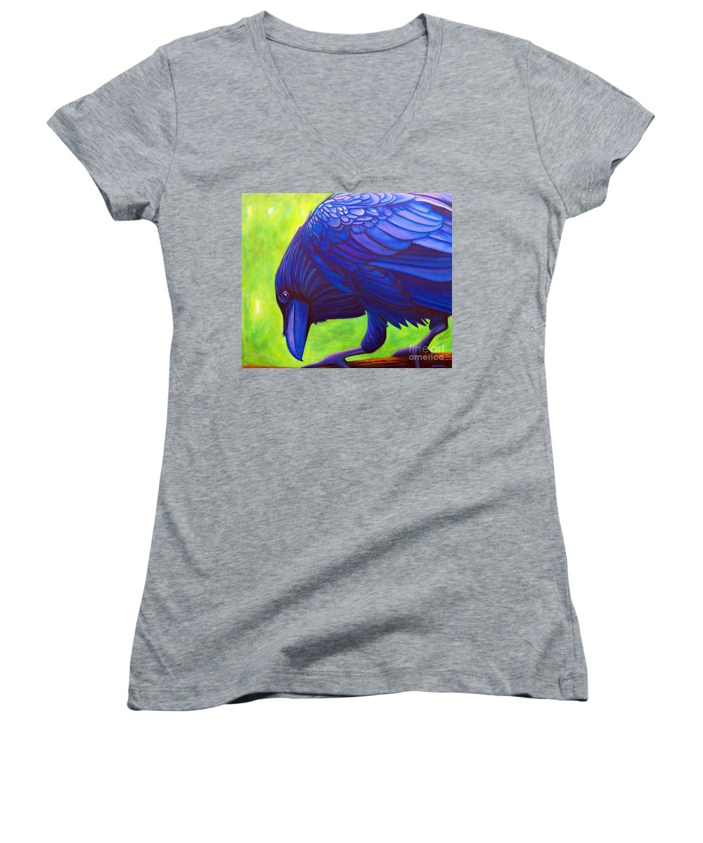 Raven Women's V-Neck T-Shirt featuring the painting The Witness by Brian Commerford