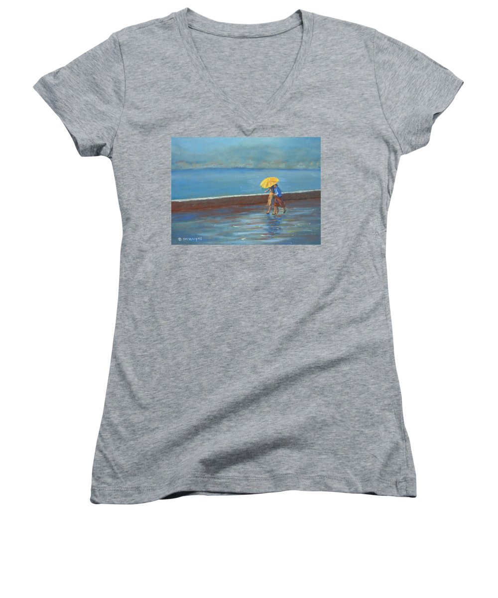 Rain Women's V-Neck (Athletic Fit) featuring the painting The Yellow Umbrella by Jerry McElroy
