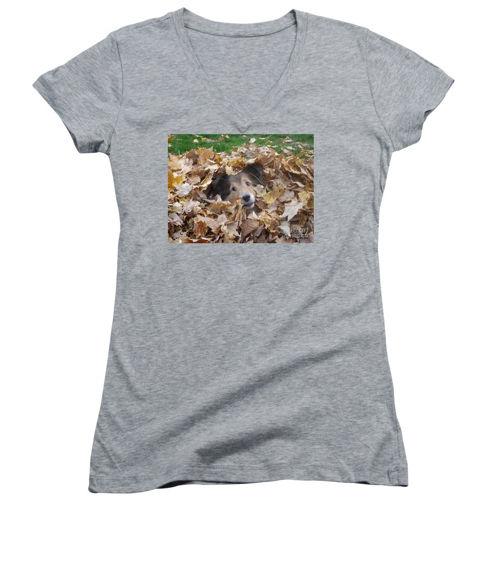 Dog Women's V-Neck T-Shirt featuring the photograph Those Eyes by Shelley Jones