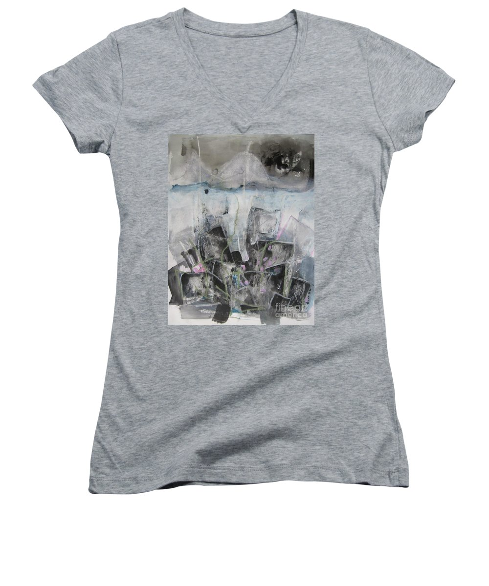 Cemetery Women's V-Neck (Athletic Fit) featuring the painting Three Arms by Seon-Jeong Kim