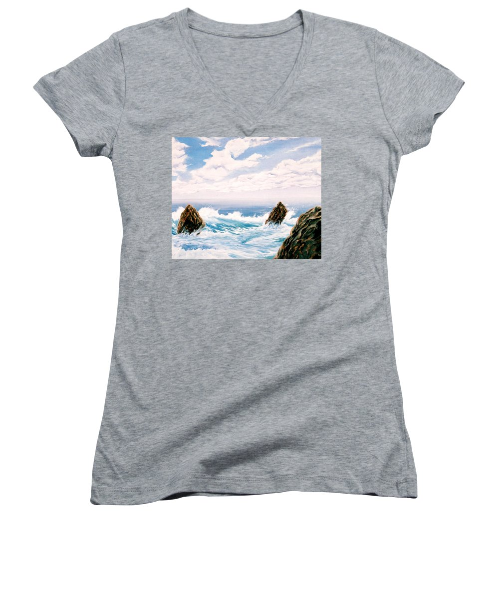 Seascape Women's V-Neck (Athletic Fit) featuring the painting Three Rocks by Mark Cawood