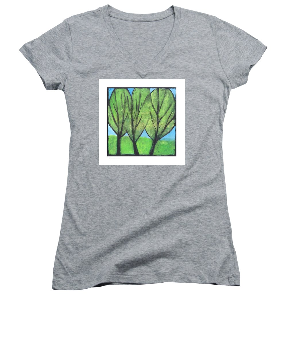 Trees Women's V-Neck (Athletic Fit) featuring the painting Three Sisters by Tim Nyberg