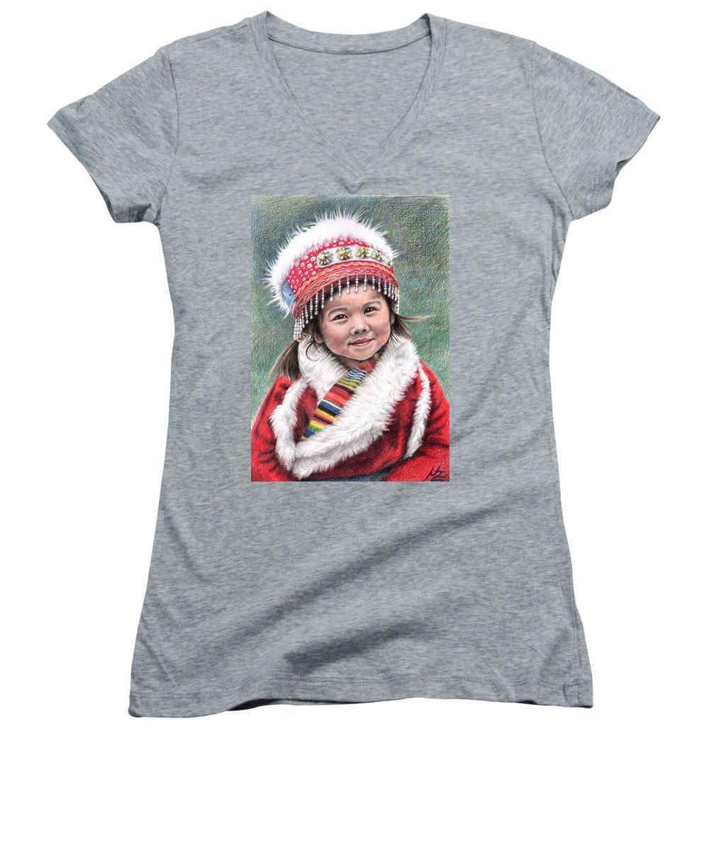 Girl Women's V-Neck T-Shirt featuring the drawing Tibetan Girl by Nicole Zeug
