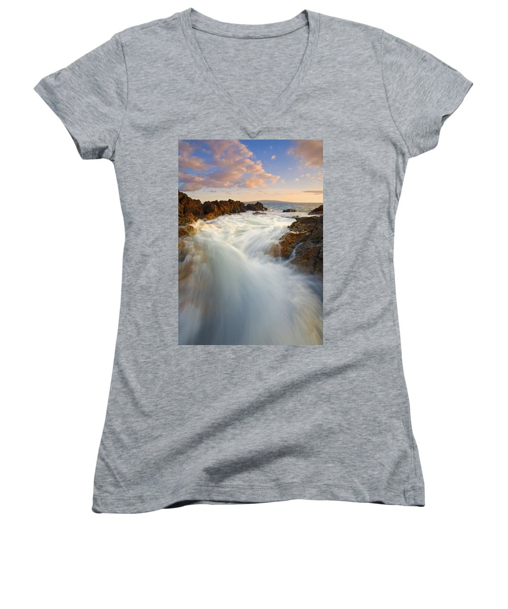 Surge Women's V-Neck T-Shirt featuring the photograph Tidal Surge by Mike Dawson