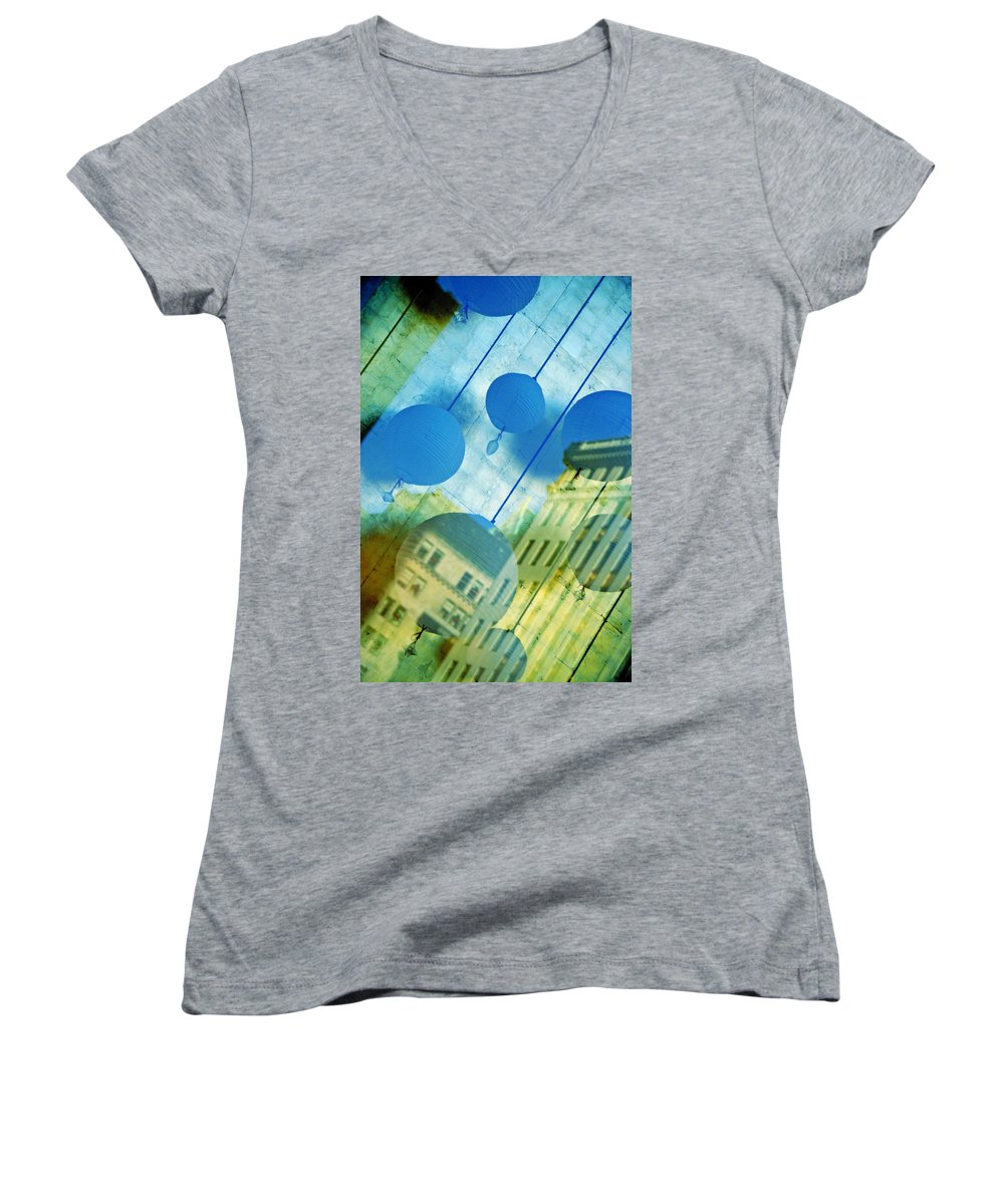 New York Women's V-Neck T-Shirt featuring the photograph Tiffanys by Skip Hunt