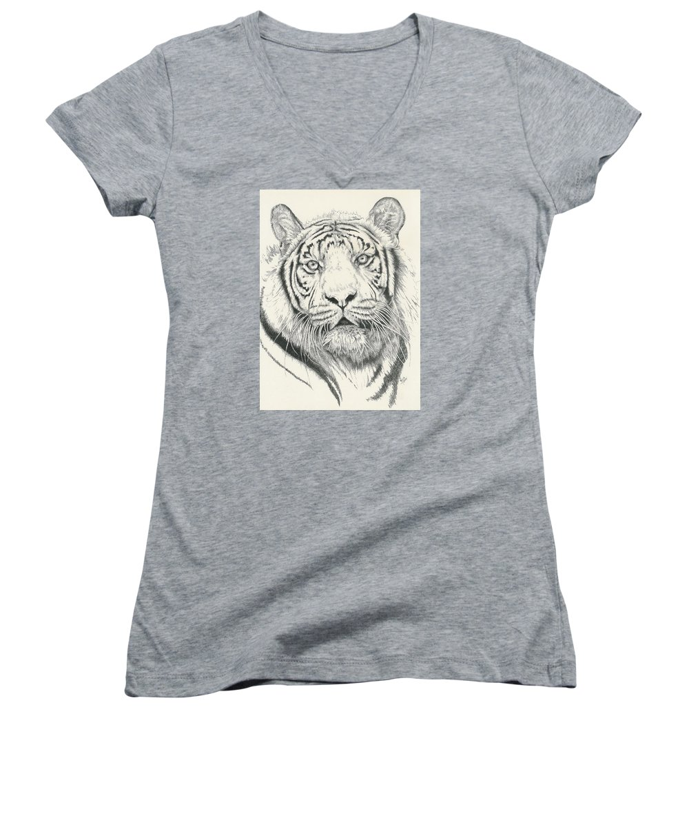 Tiger Women's V-Neck (Athletic Fit) featuring the drawing Tigerlily by Barbara Keith