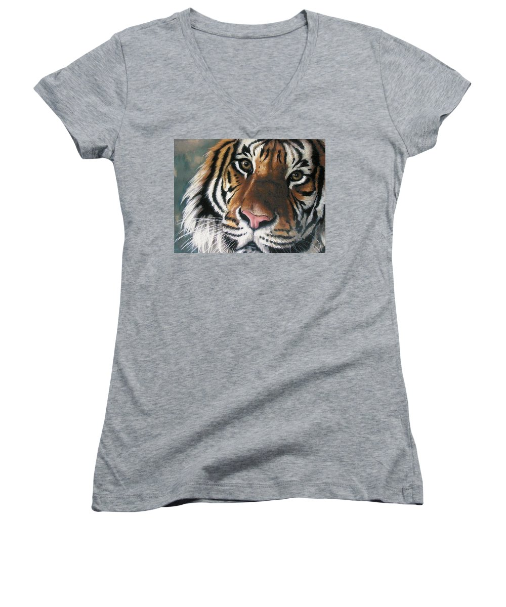 Tiger Women's V-Neck T-Shirt featuring the pastel Tigger by Barbara Keith