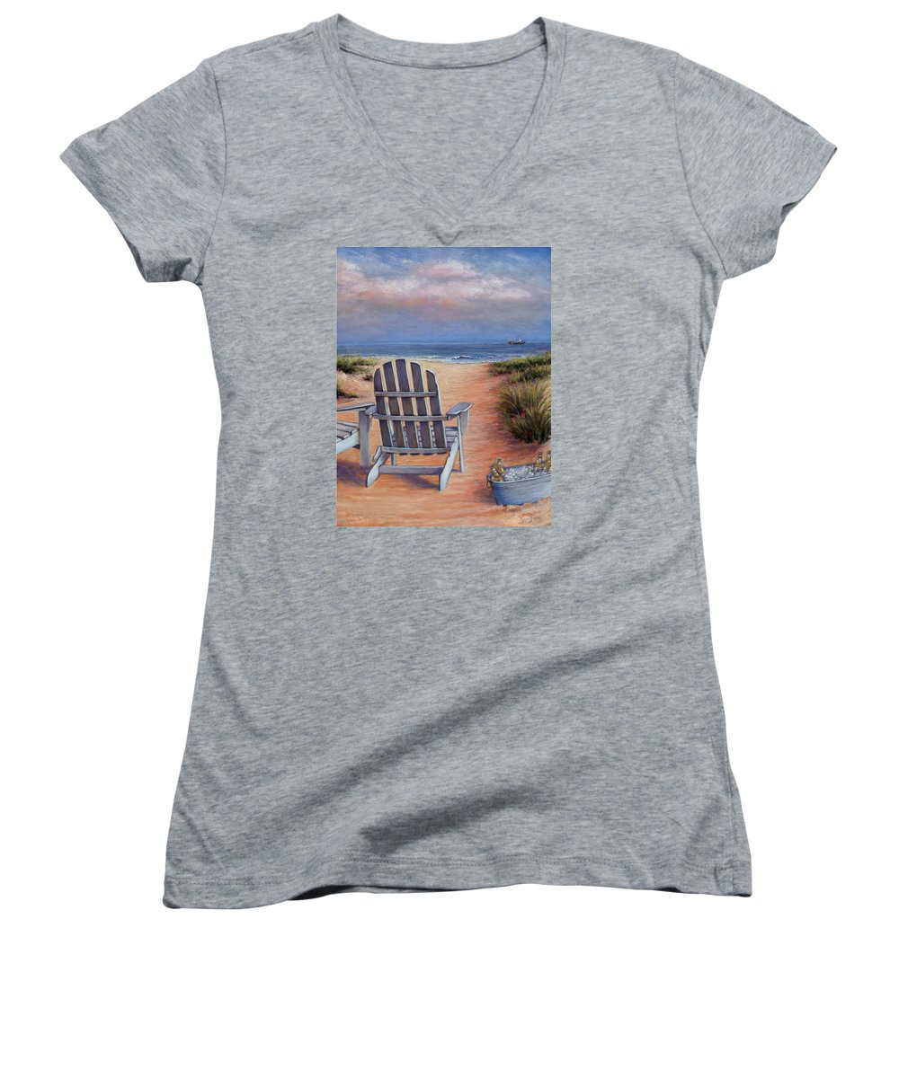 Landscape Women's V-Neck (Athletic Fit) featuring the pastel Time To Chill by Susan Jenkins