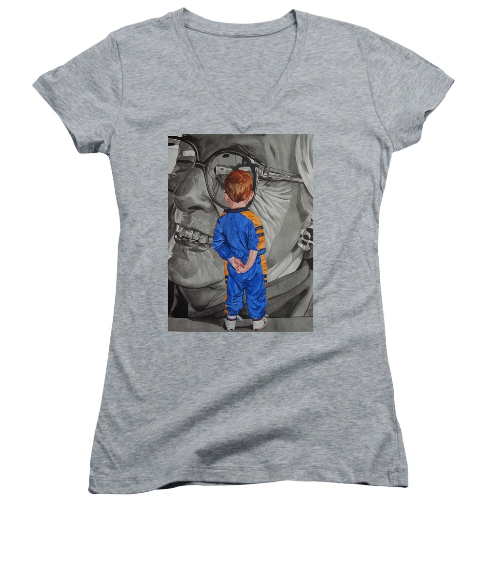Children Women's V-Neck T-Shirt featuring the painting Timeless Contemplation by Valerie Patterson