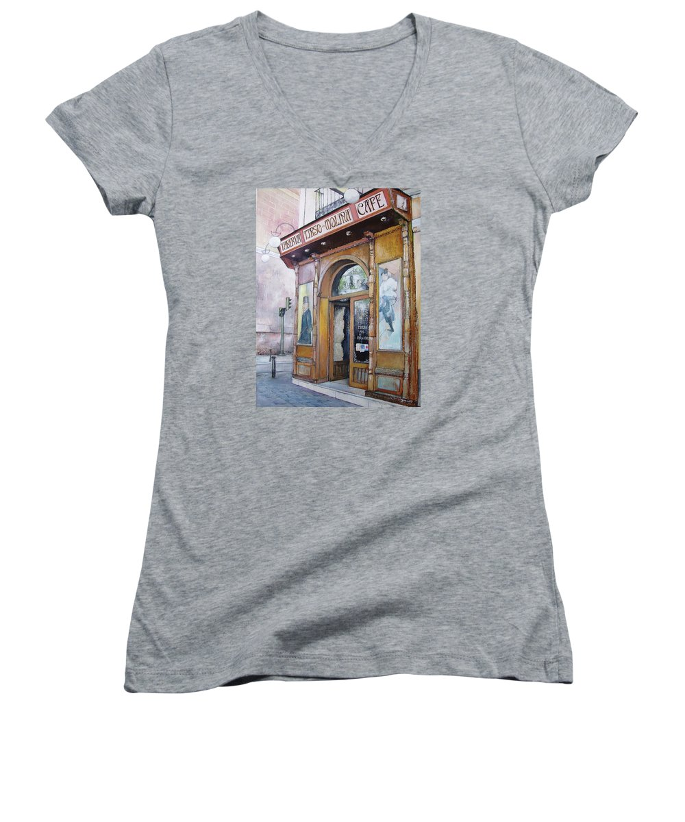Tirso Women's V-Neck T-Shirt featuring the painting Tirso De Molina Old Tavern by Tomas Castano