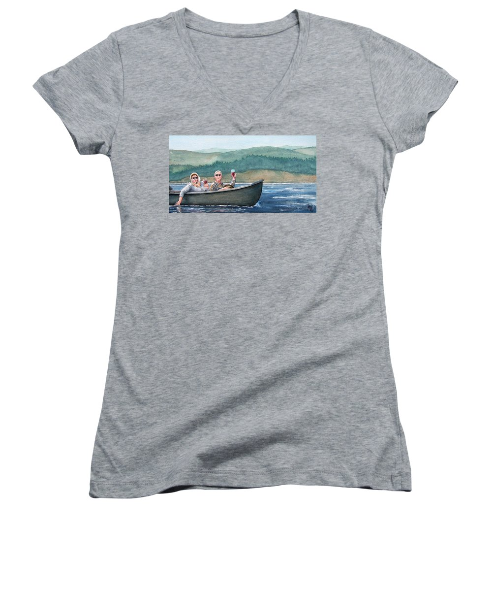 Canoe Women's V-Neck (Athletic Fit) featuring the painting To Life by Gale Cochran-Smith