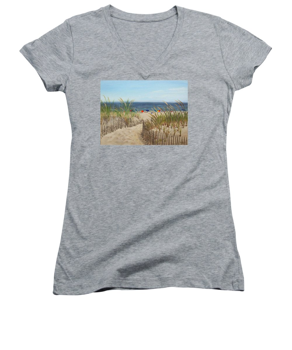 Beach Women's V-Neck (Athletic Fit) featuring the painting To The Beach by Lea Novak